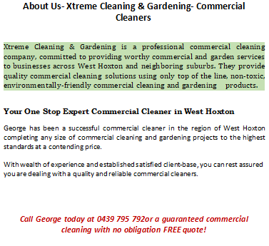 About Us- Commercial Cleaners West Hoxton
