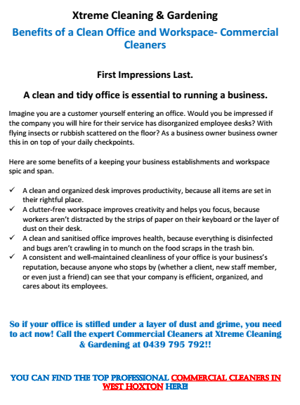 Benefits of a Clean Office and Workspace West Hoxton