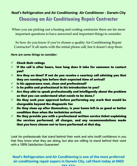 Choosing an Air Conditioning Repair Contractor Darwin City