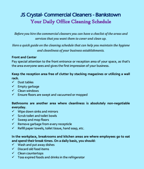 Daily Office Cleaning Schedule Bankstown