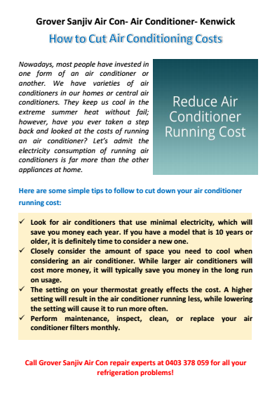 How To Cut Your Air Conditioning Cost Kenwick