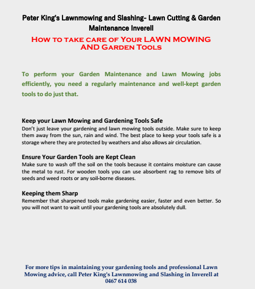How to Take Care of Your Lawn Mowing and Garden Tools Inverell