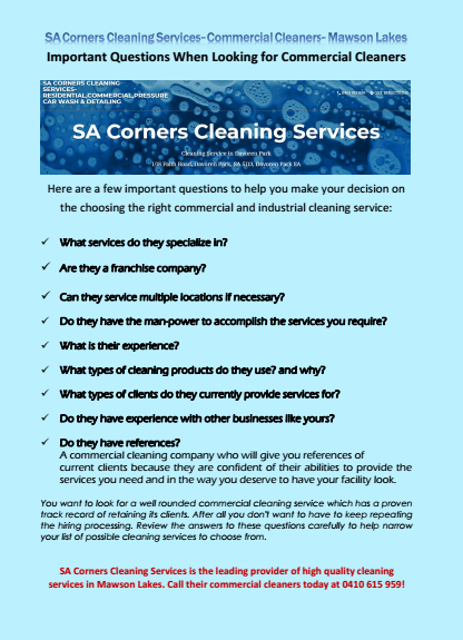 Important Questions When Looking for Commercial Cleaners Mawson Lakes