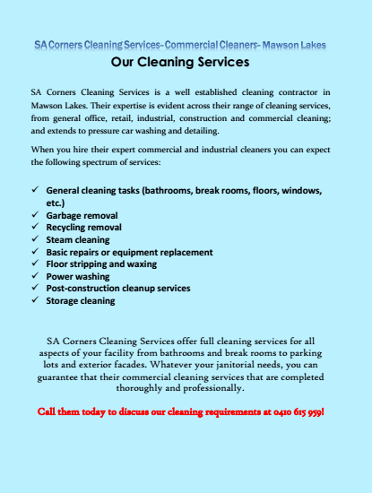Our Cleaning Services Mawson Lakes