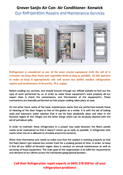Our Refrigeration Repair Services Kenwick