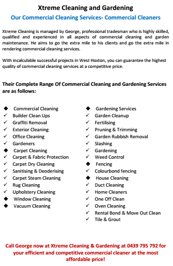 Our Services- Commercial Cleaners West Hoxton