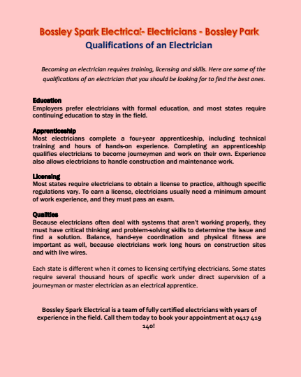 Qualifications of an Electrician Bossley Park