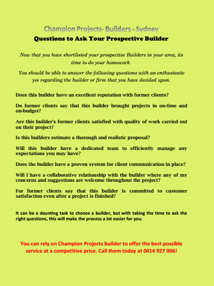 Questions to Ask Your Prospective Builder Sydney