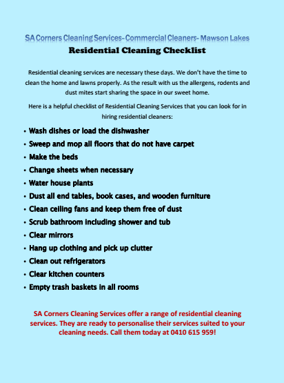 Residential Cleaning Checklist Mawson Lakes
