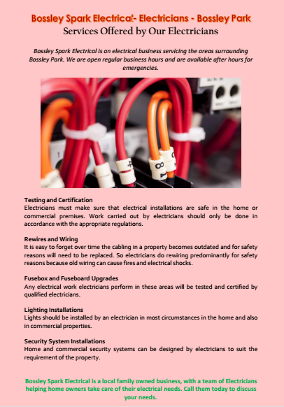 Services Offered by Our Electricians Bossley Park