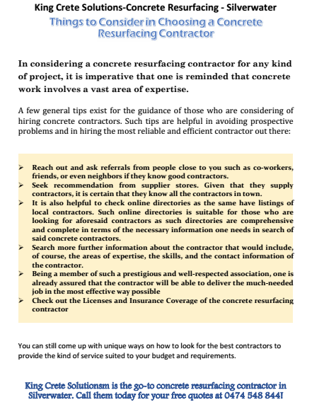 Things To Consider in Choosing the Right Concrete Resurfacing Contractor Silverwater